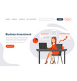 business investment landing page template vector image vector image
