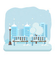 children s amusement park winter playground vector image