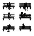 children silhouette set sitting on park benches