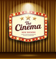 cinema theater hexagon sign gold curtain light vector image vector image