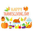 colored happy thanksgiving day card vector image