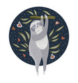cute cartoon sloth hold on a branch vector image