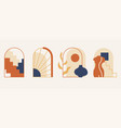 cute set with modern minimalist abstract aesthetic vector image