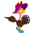 Cute turkey cartoon wearing hat vector image
