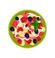 delicious fruit salad made of banana strawberry vector image vector image