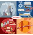 Flat design of landmarks of San Francisco vector image vector image