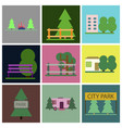 flat icons set parks vector image vector image
