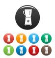 food blender icons set color vector image vector image