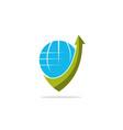 globe arrow logo vector image vector image