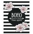 Greeting card flowers - Boho free spirit hand vector image