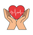 hands with heart cardio vector image vector image