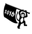 Happy new year 2016 Silhouette of Monkey with flag vector image vector image