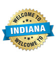 Indiana 3d gold badge with blue ribbon vector image