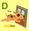 isolated animal alphabet letter d-dog door vector image vector image
