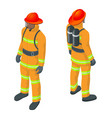 isometric fireman under vector image