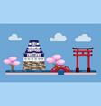japan castle famous landmark building background vector image vector image
