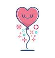 kawaii valentine heart balloon vector image vector image