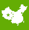 map of china icon green vector image vector image