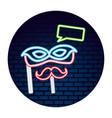 mask mustache neon brick wall label vector image vector image