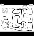 maze with mole coloring page vector image vector image