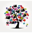 Memory family tree with polaroid photo frames vector image vector image
