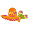mexican hat with maracas vector image vector image