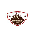 Mountain climbing emblem template with rock peak