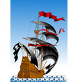 pirate ship with black sails vector image