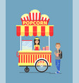popcorn stall and customer vector image vector image