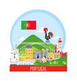 portugal background with national landmark icons vector image vector image
