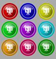 presentation board icon sign symbol on nine round vector image vector image