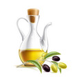 realistic glass virgin oil jug with branch vector image vector image