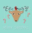 reindeeer head merry christmas hanging stick vector image vector image