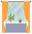 room interior wide window with curtains and plant vector image vector image