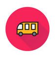 school bus icon on round background vector image vector image