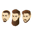 set of men face hipster head with haircuts vector image vector image