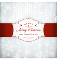 Silver Christmas Invitation Card With Red vector image vector image