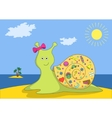 snail with gifts on island vector image