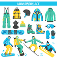 Snowboarding Equipment Colored Set vector image vector image