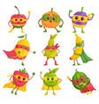 super hero fruit comic cartoon characters in mask vector image