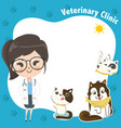 template for a veterinary clinic with a doctor vector image