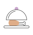 tray with delicious chicken isolated icon vector image
