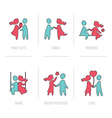 Valentines Day Flat Icons- Couple in Love vector image
