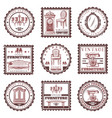 vintage furniture stamps set vector image