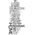 work from home why and how text word cloud concept vector image vector image