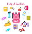 school backpack essentials vector image