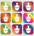 Amphora icon Nine buttons with bright gradients vector image vector image