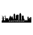 amsterdam skyline silhouette black amsterdam city vector image vector image