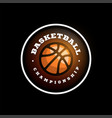 basketball league logo with ball orange color vector image vector image