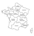 black outlines map of france with names on white vector image